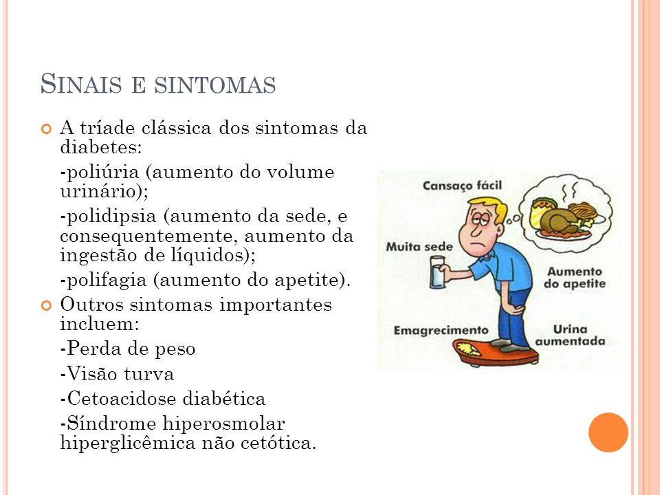 S INAIS E SINTOMAS A tríade clássica dos sintomas da diabetes: -poliúria (aumento do volume urinário); -polidipsia (aumento da sede, e consequentemente, aumento da ingestão de líquidos); -polifagia (aumento do apetite).