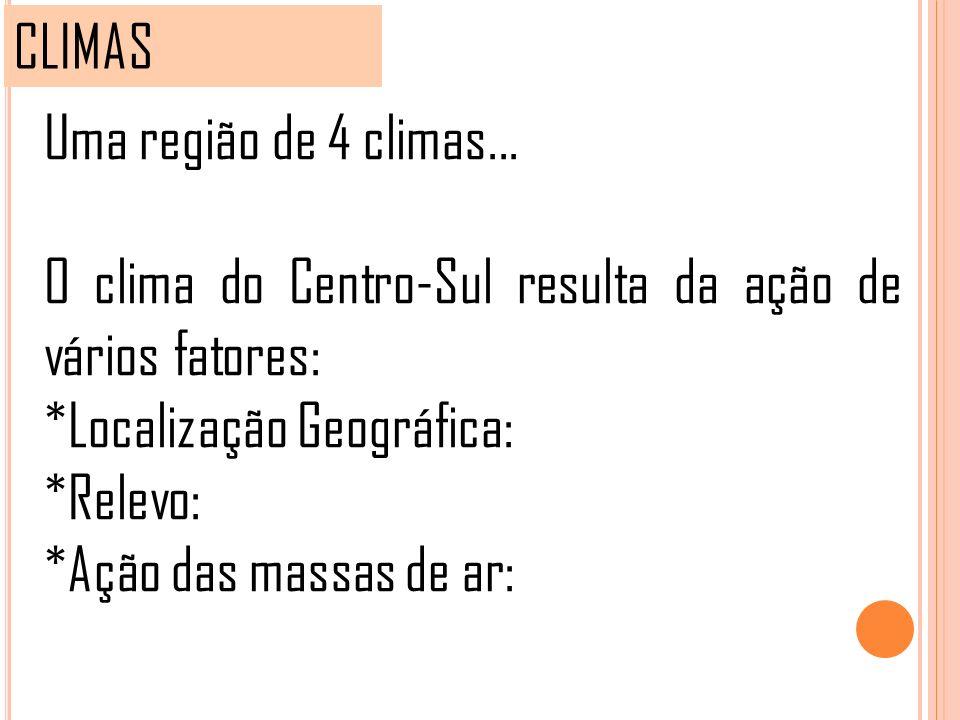 CLIMAS Uma região de 4 climas... O clima do Centro-Sul resulta da ação de vários fatores: *Localização Geográfica: *Relevo: *Ação das massas de ar: