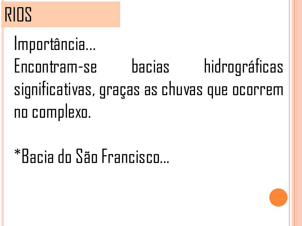 RIOS Importância... Encontram-se bacias hidrográficas significativas, graças as chuvas que ocorrem no complexo. *Bacia do São Francisco...