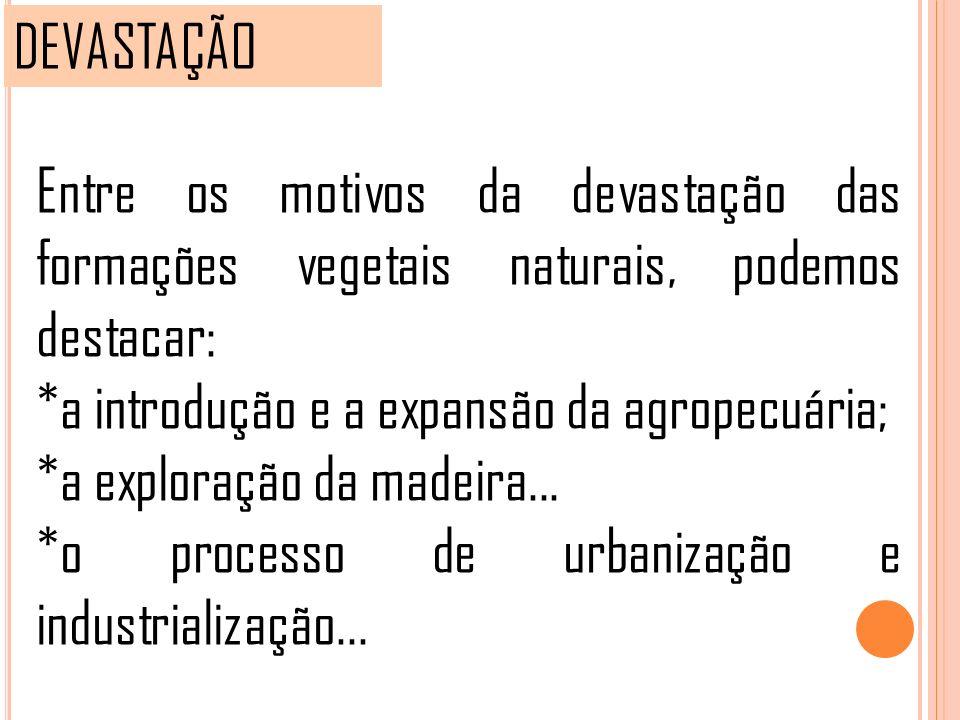 DEVASTAÇÃO Entre os motivos da devastação das formações vegetais naturais, podemos destacar: *a introdução e a expansão da agropecuária; *a exploração