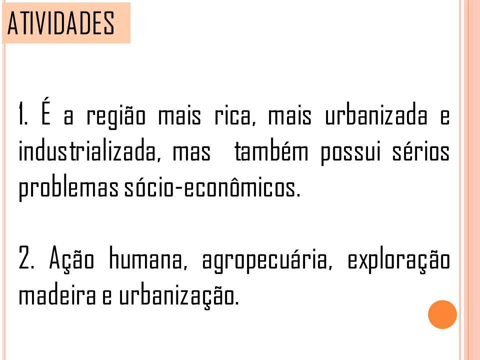 ATIVIDADES 1. É a região mais rica, mais urbanizada e industrializada, mas também possui sérios problemas sócio-econômicos. 2. Ação humana, agropecuár