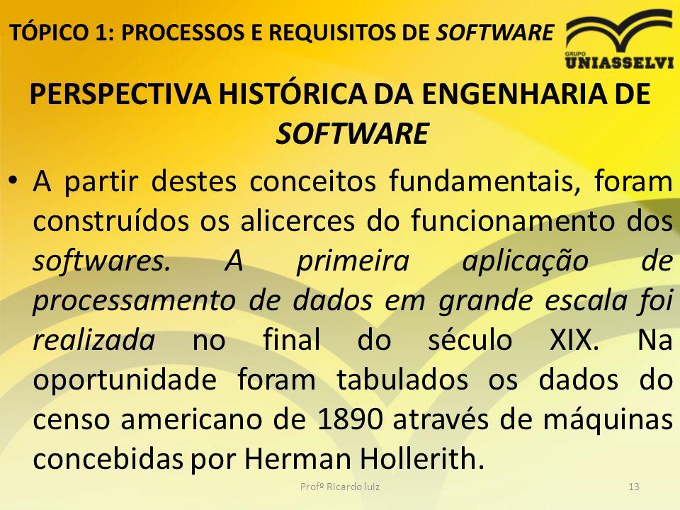 TÓPICO 1: PROCESSOS E REQUISITOS DE SOFTWARE PERSPECTIVA HISTÓRICA DA ENGENHARIA DE SOFTWARE A partir destes conceitos fundamentais, foram construídos os alicerces do funcionamento dos softwares.