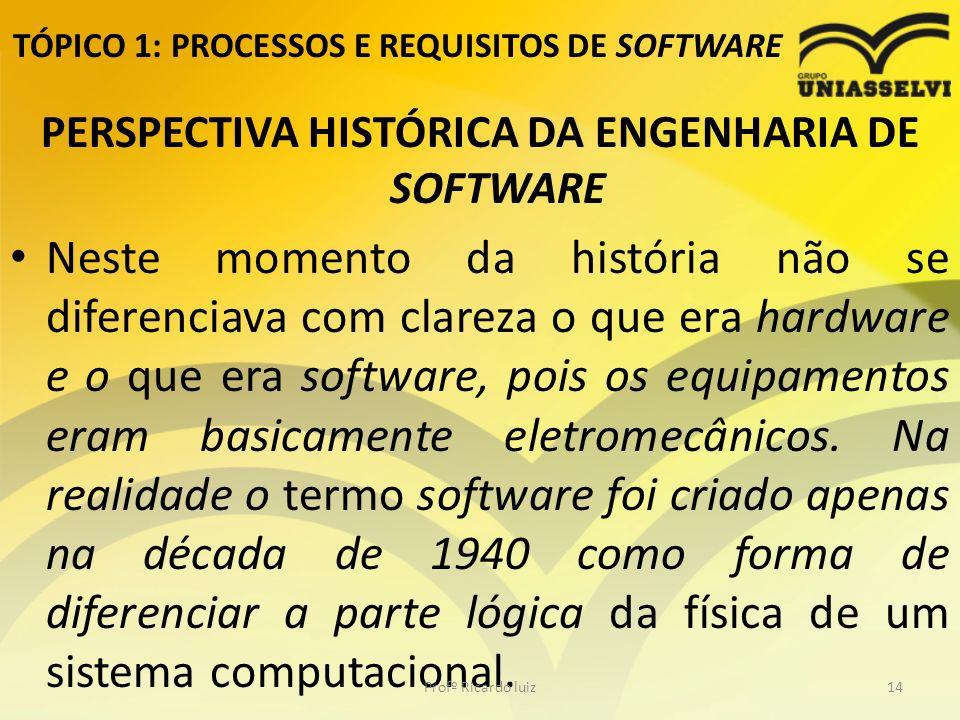 TÓPICO 1: PROCESSOS E REQUISITOS DE SOFTWARE PERSPECTIVA HISTÓRICA DA ENGENHARIA DE SOFTWARE Neste momento da história não se diferenciava com clareza o que era hardware e o que era software, pois os equipamentos eram basicamente eletromecânicos.