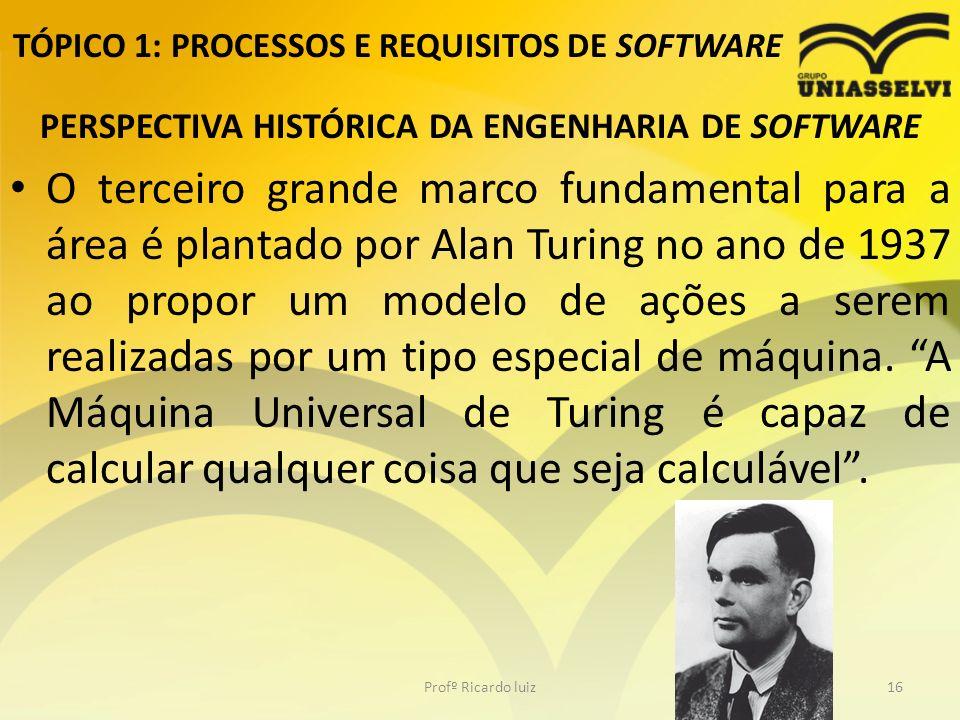 TÓPICO 1: PROCESSOS E REQUISITOS DE SOFTWARE PERSPECTIVA HISTÓRICA DA ENGENHARIA DE SOFTWARE O terceiro grande marco fundamental para a área é plantado por Alan Turing no ano de 1937 ao propor um modelo de ações a serem realizadas por um tipo especial de máquina.