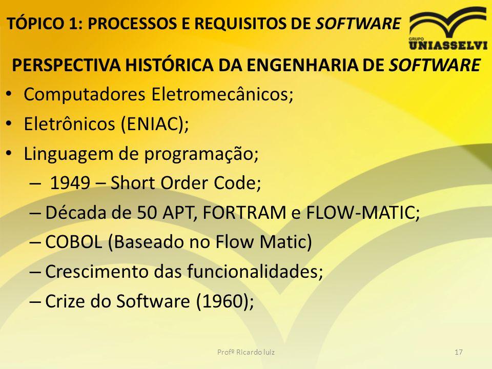 TÓPICO 1: PROCESSOS E REQUISITOS DE SOFTWARE PERSPECTIVA HISTÓRICA DA ENGENHARIA DE SOFTWARE Computadores Eletromecânicos; Eletrônicos (ENIAC); Linguagem de programação; – 1949 – Short Order Code; – Década de 50 APT, FORTRAM e FLOW-MATIC; – COBOL (Baseado no Flow Matic) – Crescimento das funcionalidades; – Crize do Software (1960); Profº Ricardo luiz17