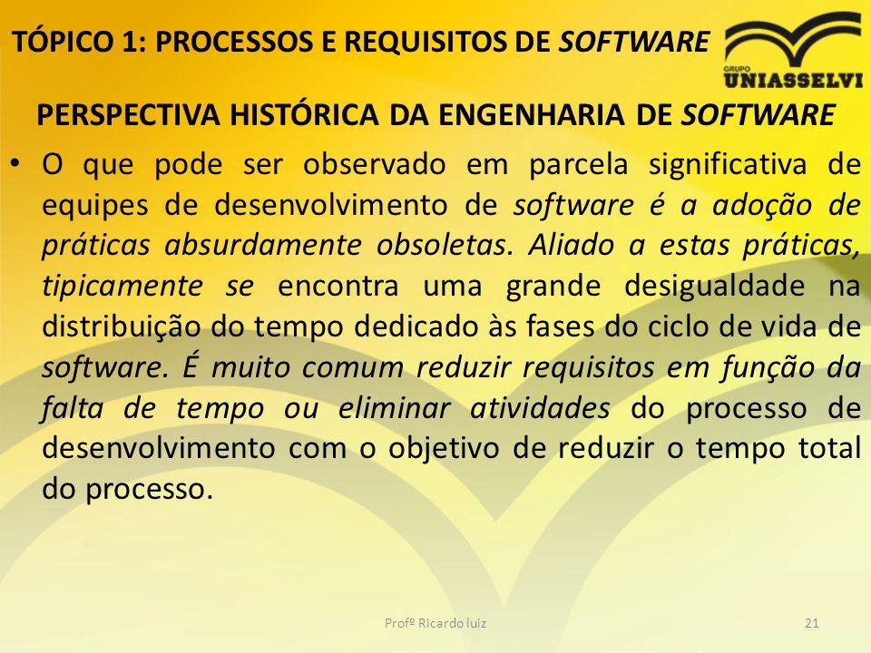 TÓPICO 1: PROCESSOS E REQUISITOS DE SOFTWARE PERSPECTIVA HISTÓRICA DA ENGENHARIA DE SOFTWARE O que pode ser observado em parcela significativa de equipes de desenvolvimento de software é a adoção de práticas absurdamente obsoletas.