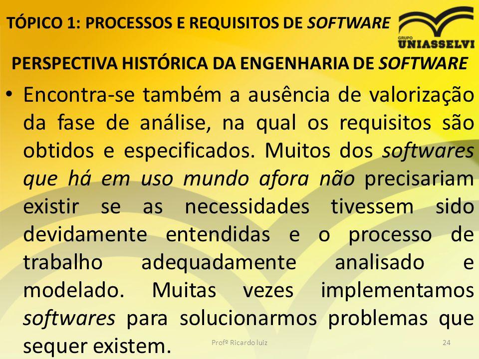 TÓPICO 1: PROCESSOS E REQUISITOS DE SOFTWARE PERSPECTIVA HISTÓRICA DA ENGENHARIA DE SOFTWARE Encontra-se também a ausência de valorização da fase de análise, na qual os requisitos são obtidos e especificados.