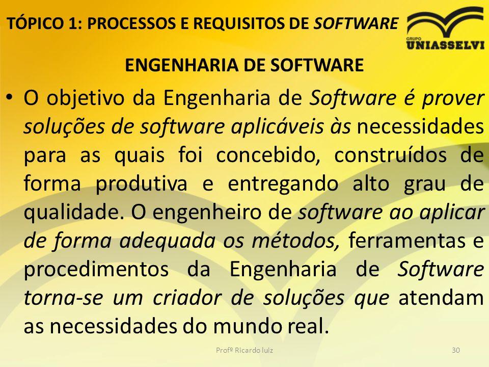 TÓPICO 1: PROCESSOS E REQUISITOS DE SOFTWARE ENGENHARIA DE SOFTWARE O objetivo da Engenharia de Software é prover soluções de software aplicáveis às necessidades para as quais foi concebido, construídos de forma produtiva e entregando alto grau de qualidade.