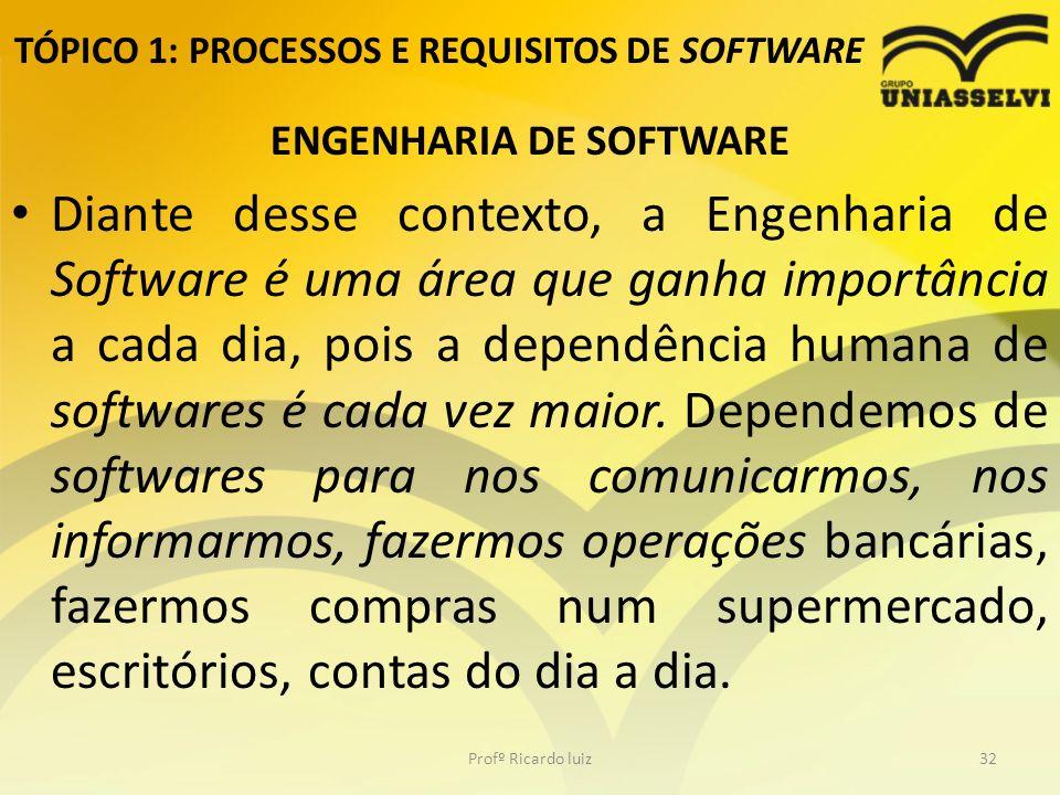 TÓPICO 1: PROCESSOS E REQUISITOS DE SOFTWARE ENGENHARIA DE SOFTWARE Diante desse contexto, a Engenharia de Software é uma área que ganha importância a cada dia, pois a dependência humana de softwares é cada vez maior.