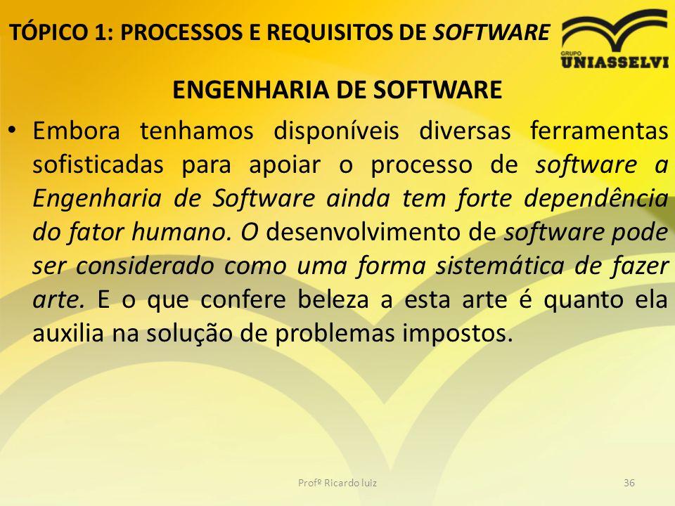 TÓPICO 1: PROCESSOS E REQUISITOS DE SOFTWARE ENGENHARIA DE SOFTWARE Embora tenhamos disponíveis diversas ferramentas sofisticadas para apoiar o processo de software a Engenharia de Software ainda tem forte dependência do fator humano.