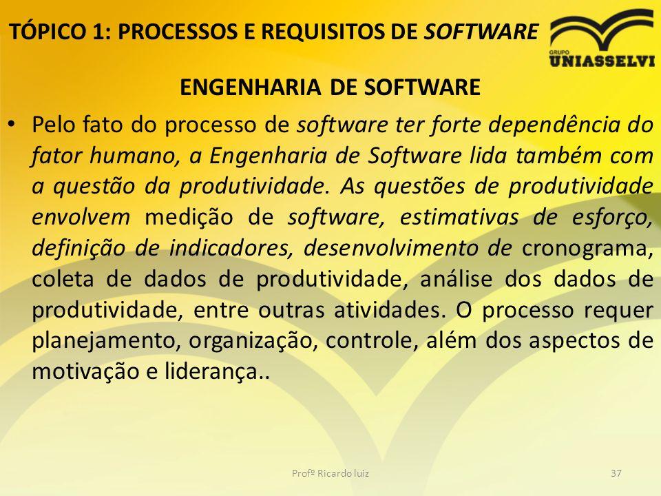TÓPICO 1: PROCESSOS E REQUISITOS DE SOFTWARE ENGENHARIA DE SOFTWARE Pelo fato do processo de software ter forte dependência do fator humano, a Engenharia de Software lida também com a questão da produtividade.