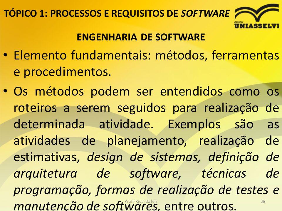 TÓPICO 1: PROCESSOS E REQUISITOS DE SOFTWARE ENGENHARIA DE SOFTWARE Elemento fundamentais: métodos, ferramentas e procedimentos.