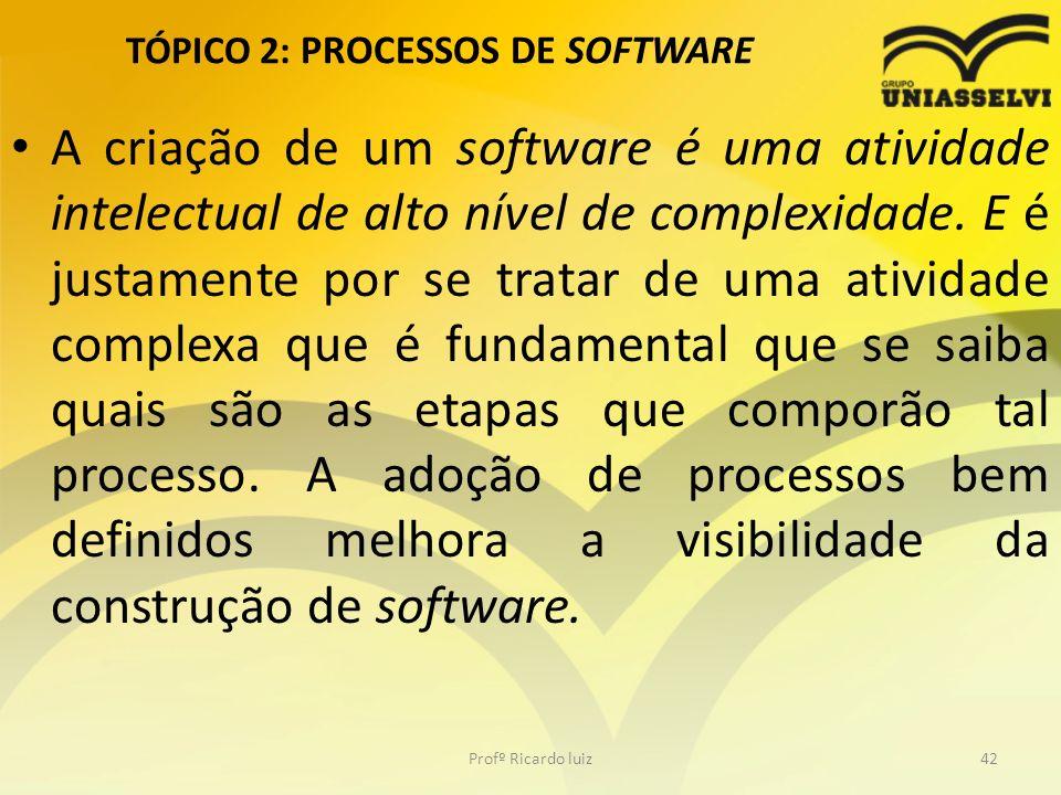 TÓPICO 2: PROCESSOS DE SOFTWARE A criação de um software é uma atividade intelectual de alto nível de complexidade. E é justamente por se tratar de um