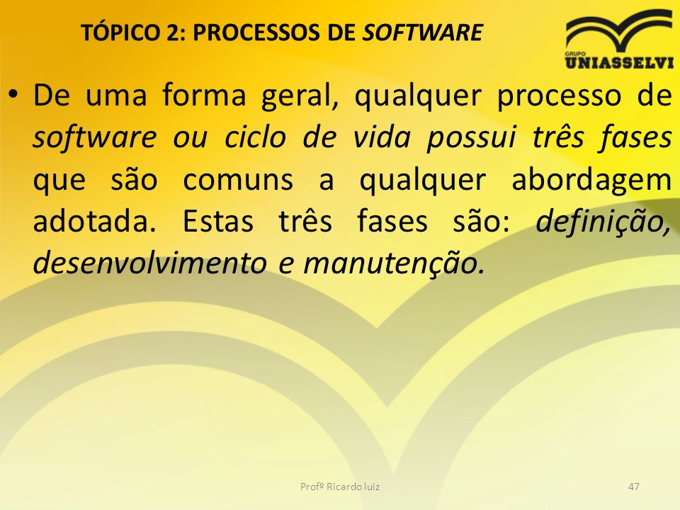 TÓPICO 2: PROCESSOS DE SOFTWARE De uma forma geral, qualquer processo de software ou ciclo de vida possui três fases que são comuns a qualquer abordagem adotada.