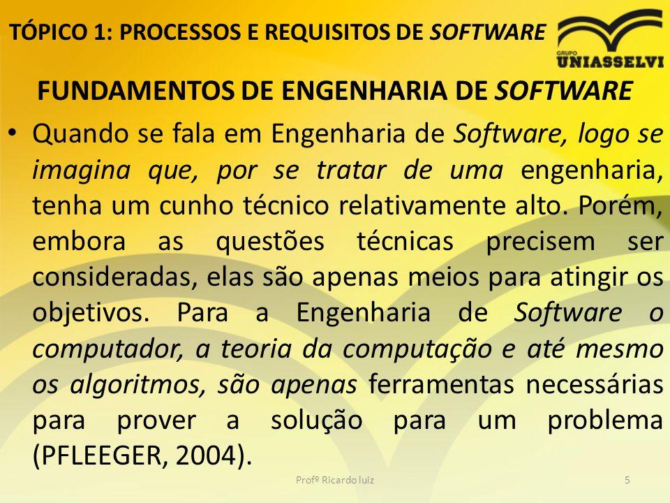 TÓPICO 1: PROCESSOS E REQUISITOS DE SOFTWARE FUNDAMENTOS DE ENGENHARIA DE SOFTWARE Quando se fala em Engenharia de Software, logo se imagina que, por