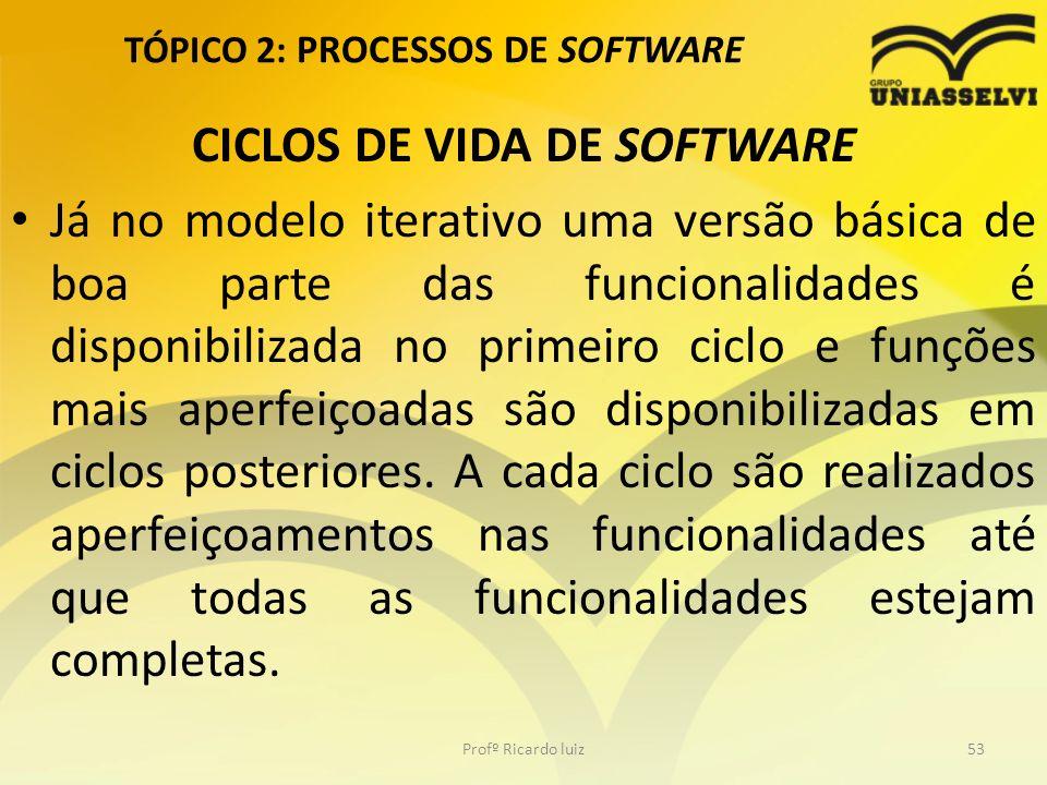TÓPICO 2: PROCESSOS DE SOFTWARE CICLOS DE VIDA DE SOFTWARE Já no modelo iterativo uma versão básica de boa parte das funcionalidades é disponibilizada