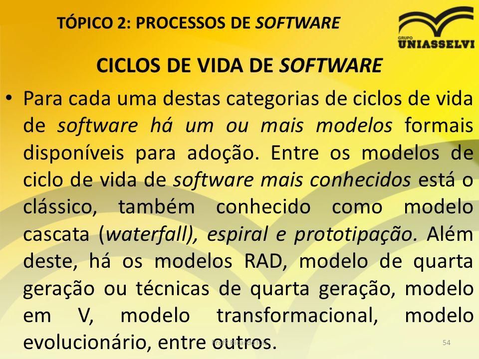 TÓPICO 2: PROCESSOS DE SOFTWARE CICLOS DE VIDA DE SOFTWARE Para cada uma destas categorias de ciclos de vida de software há um ou mais modelos formais disponíveis para adoção.