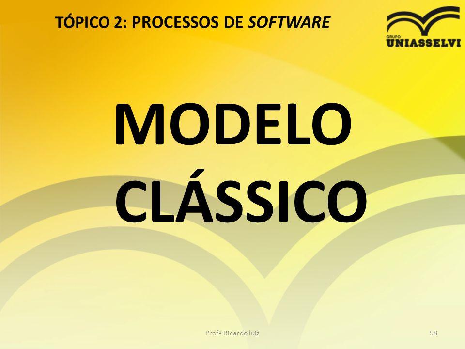 TÓPICO 2: PROCESSOS DE SOFTWARE Profº Ricardo luiz58 MODELO CLÁSSICO
