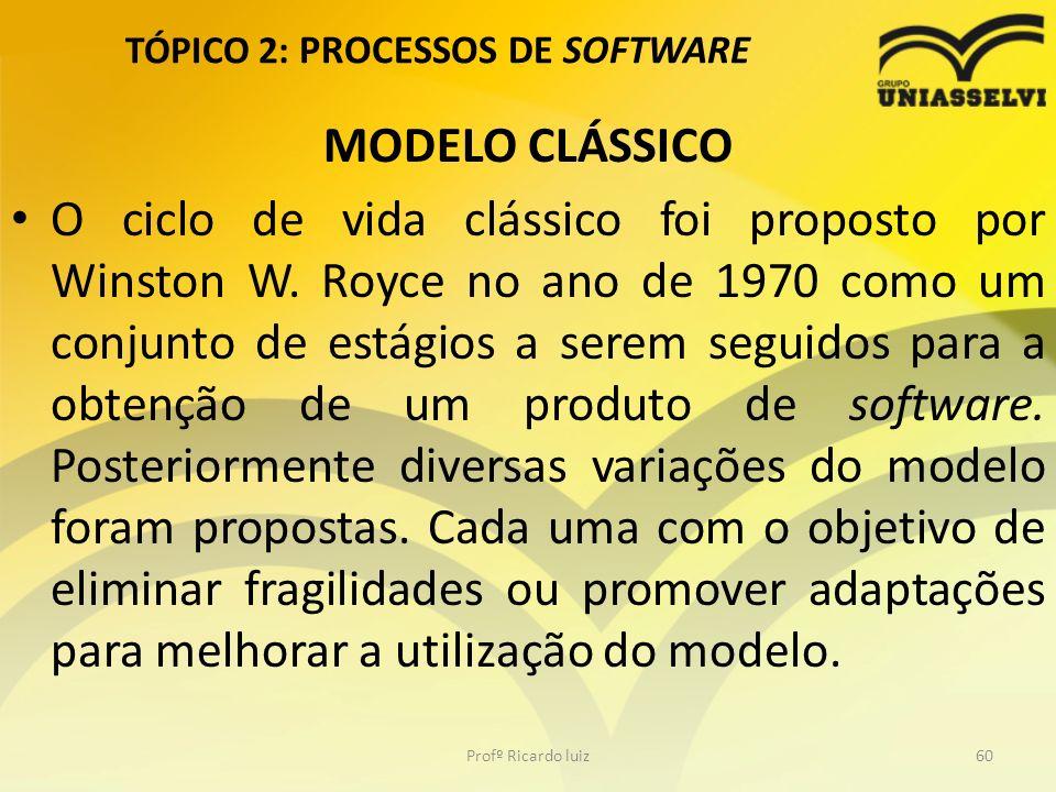 TÓPICO 2: PROCESSOS DE SOFTWARE MODELO CLÁSSICO O ciclo de vida clássico foi proposto por Winston W. Royce no ano de 1970 como um conjunto de estágios