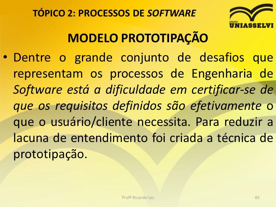 TÓPICO 2: PROCESSOS DE SOFTWARE MODELO PROTOTIPAÇÃO Dentre o grande conjunto de desafios que representam os processos de Engenharia de Software está a