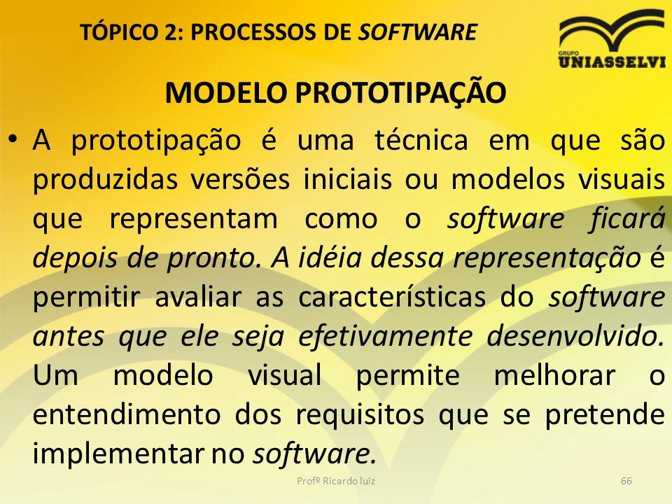 TÓPICO 2: PROCESSOS DE SOFTWARE MODELO PROTOTIPAÇÃO A prototipação é uma técnica em que são produzidas versões iniciais ou modelos visuais que representam como o software ficará depois de pronto.