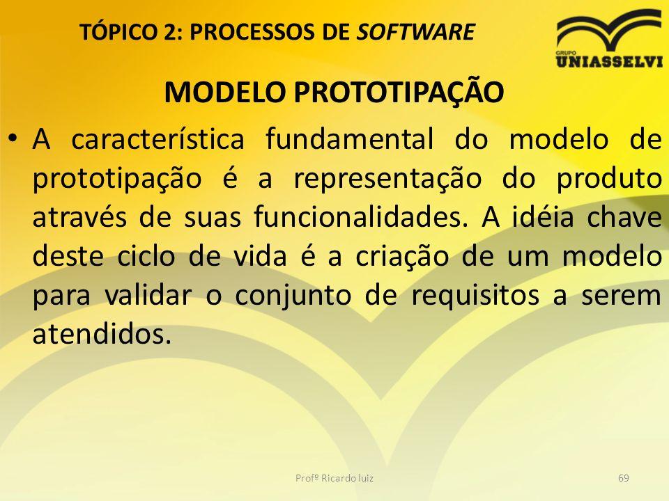 TÓPICO 2: PROCESSOS DE SOFTWARE MODELO PROTOTIPAÇÃO A característica fundamental do modelo de prototipação é a representação do produto através de suas funcionalidades.