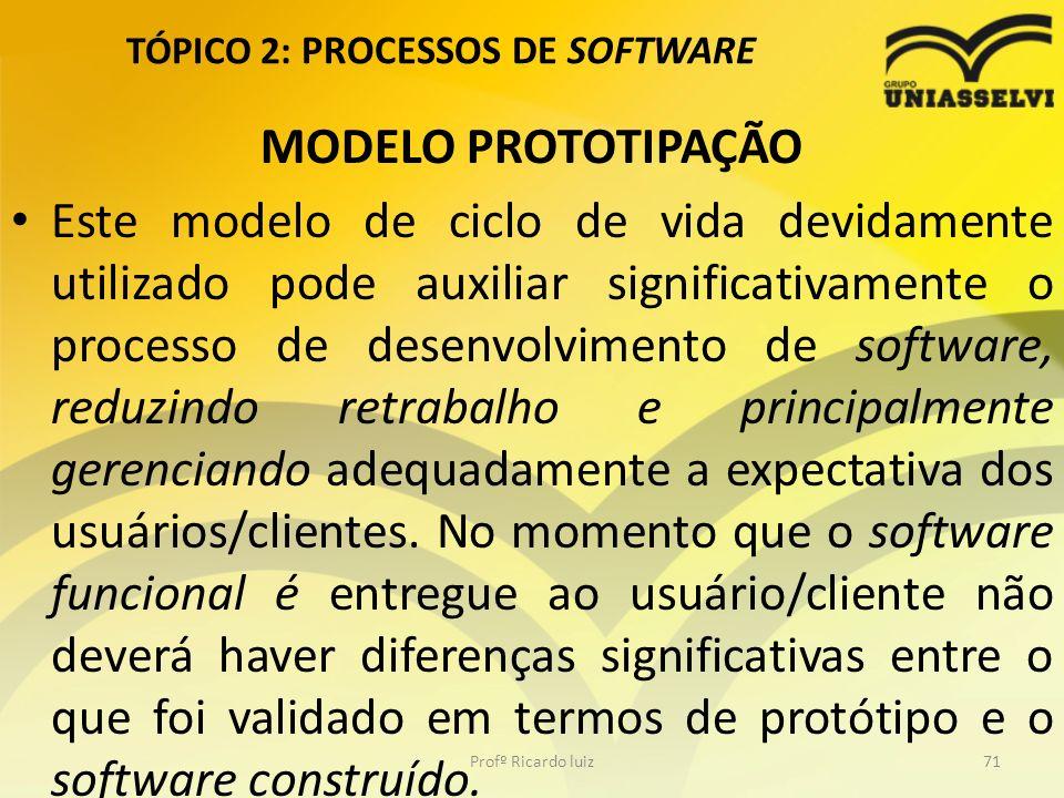 TÓPICO 2: PROCESSOS DE SOFTWARE MODELO PROTOTIPAÇÃO Este modelo de ciclo de vida devidamente utilizado pode auxiliar significativamente o processo de