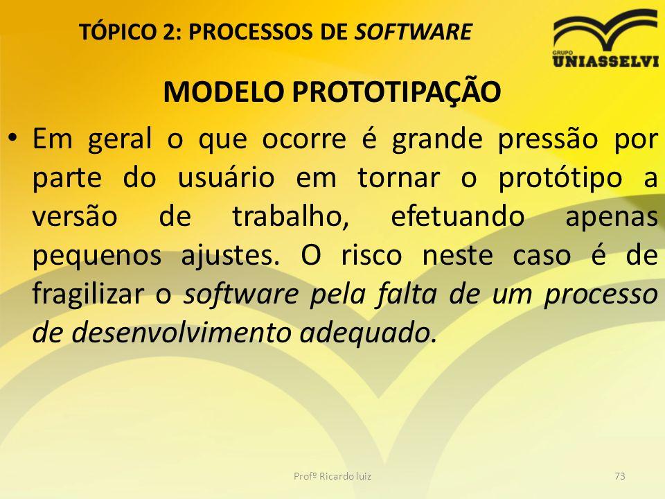 TÓPICO 2: PROCESSOS DE SOFTWARE MODELO PROTOTIPAÇÃO Em geral o que ocorre é grande pressão por parte do usuário em tornar o protótipo a versão de trabalho, efetuando apenas pequenos ajustes.