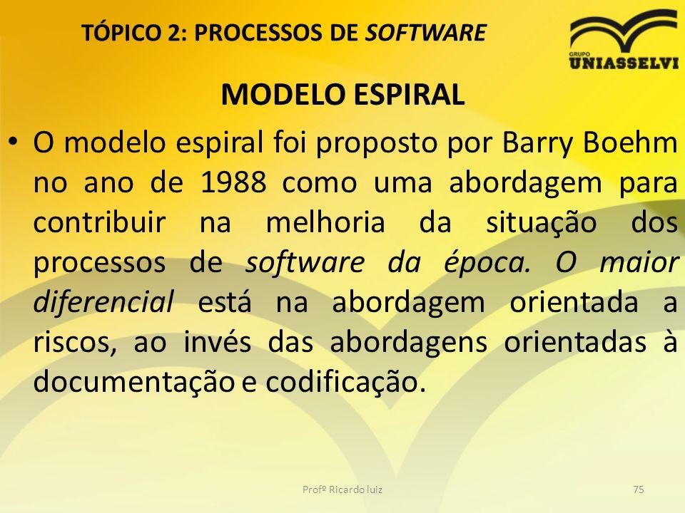 TÓPICO 2: PROCESSOS DE SOFTWARE MODELO ESPIRAL O modelo espiral foi proposto por Barry Boehm no ano de 1988 como uma abordagem para contribuir na melh