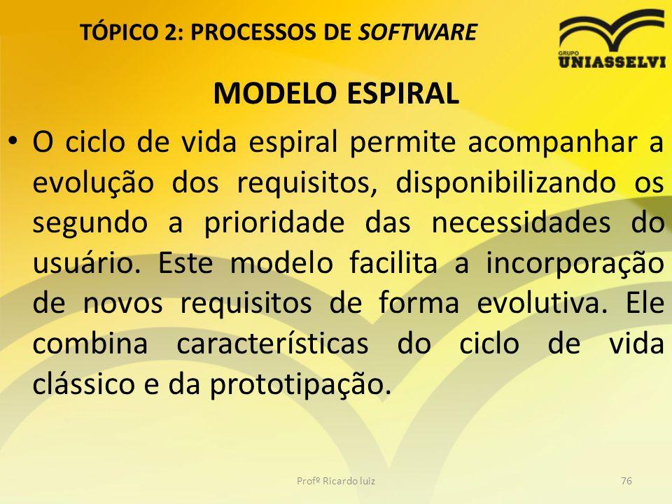TÓPICO 2: PROCESSOS DE SOFTWARE MODELO ESPIRAL O ciclo de vida espiral permite acompanhar a evolução dos requisitos, disponibilizando os segundo a prioridade das necessidades do usuário.