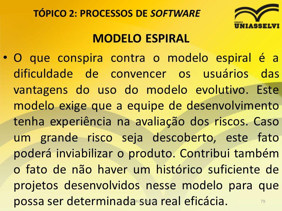 TÓPICO 2: PROCESSOS DE SOFTWARE MODELO ESPIRAL O que conspira contra o modelo espiral é a dificuldade de convencer os usuários das vantagens do uso do