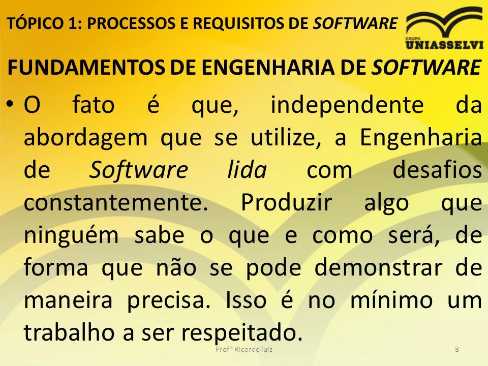 TÓPICO 1: PROCESSOS E REQUISITOS DE SOFTWARE FUNDAMENTOS DE ENGENHARIA DE SOFTWARE O fato é que, independente da abordagem que se utilize, a Engenharia de Software lida com desafios constantemente.