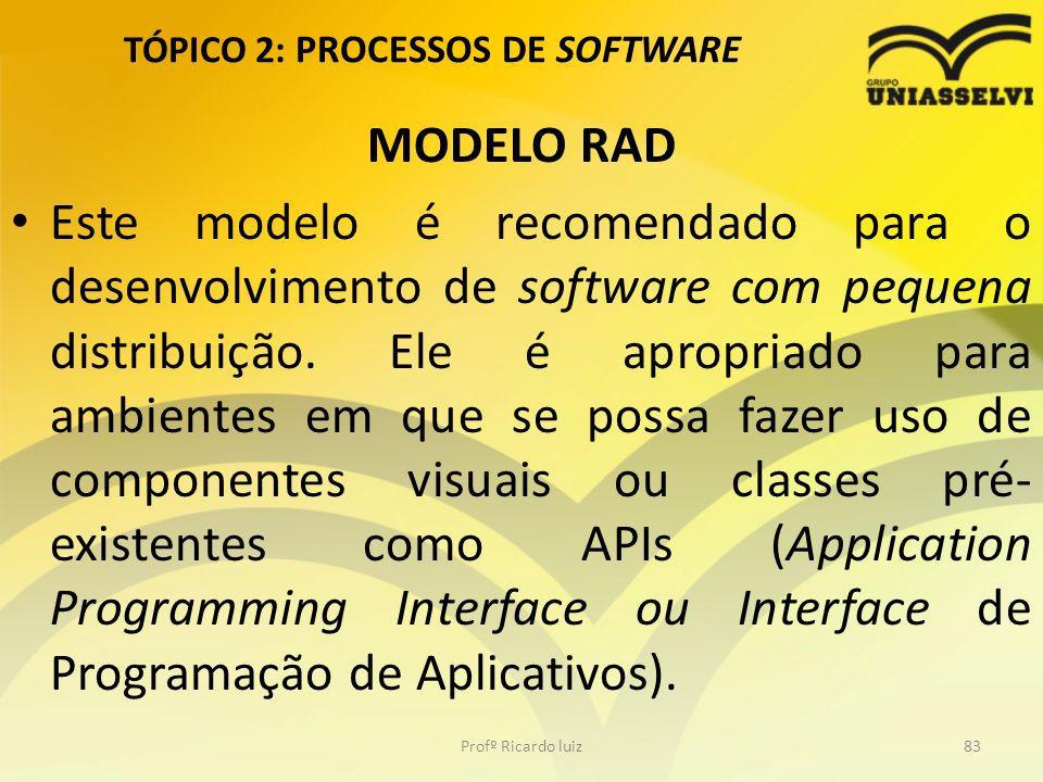 TÓPICO 2: PROCESSOS DE SOFTWARE MODELO RAD Este modelo é recomendado para o desenvolvimento de software com pequena distribuição.