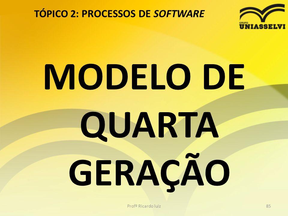 TÓPICO 2: PROCESSOS DE SOFTWARE Profº Ricardo luiz85 MODELO DE QUARTA GERAÇÃO
