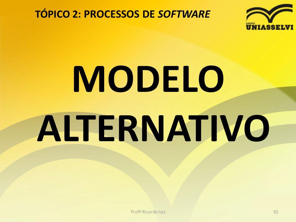 TÓPICO 2: PROCESSOS DE SOFTWARE Profº Ricardo luiz92 MODELO ALTERNATIVO