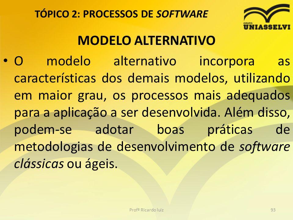 TÓPICO 2: PROCESSOS DE SOFTWARE MODELO ALTERNATIVO O modelo alternativo incorpora as características dos demais modelos, utilizando em maior grau, os processos mais adequados para a aplicação a ser desenvolvida.