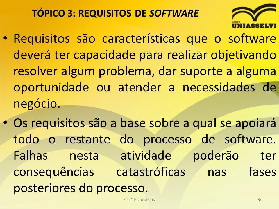 TÓPICO 3: REQUISITOS DE SOFTWARE Requisitos são características que o software deverá ter capacidade para realizar objetivando resolver algum problema, dar suporte a alguma oportunidade ou atender a necessidades de negócio.