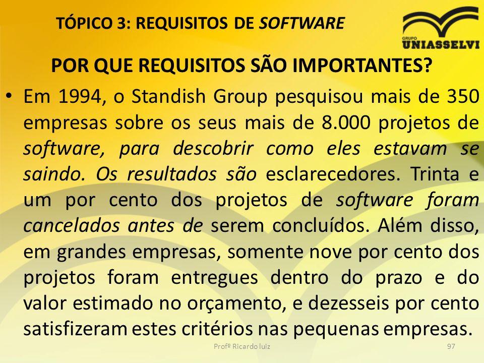 TÓPICO 3: REQUISITOS DE SOFTWARE POR QUE REQUISITOS SÃO IMPORTANTES.
