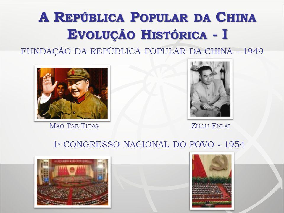 A R EPÚBLICA P OPULAR DA C HINA E VOLUÇÃO H ISTÓRICA - I FUNDAÇÃO DA REPÚBLICA POPULAR DA CHINA - 1949 1 º CONGRESSO NACIONAL DO POVO - 1954 Z HOU E N