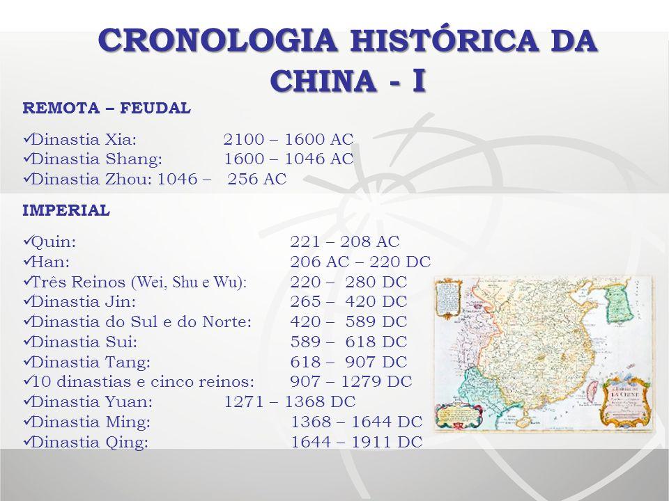 CRONOLOGIA HISTÓRICA DA CHINA - I REMOTA – FEUDAL Dinastia Xia:2100 – 1600 AC Dinastia Shang:1600 – 1046 AC Dinastia Zhou:1046 – 256 AC IMPERIAL Quin: