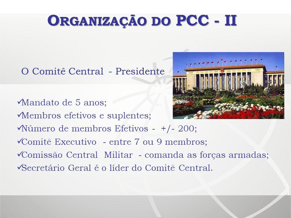 O RGANIZAÇÃO DO PCC - II O Comitê Central- Presidente Mandato de 5 anos; Membros efetivos e suplentes; Número de membros Efetivos - +/- 200; Comitê Ex