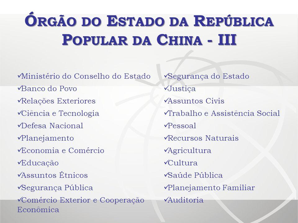 Ó RGÃO DO E STADO DA R EPÚBLICA P OPULAR DA C HINA - III Ministério do Conselho do Estado Segurança do Estado Banco do Povo Justiça Relações Exteriore