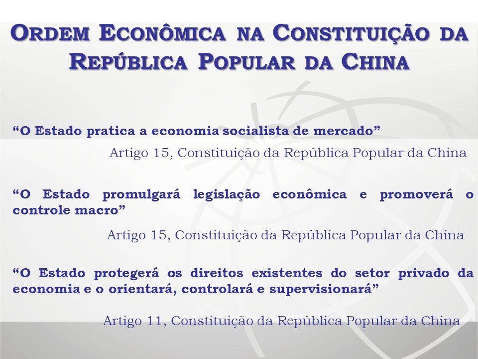 O RDEM E CONÔMICA NA C ONSTITUIÇÃO DA R EPÚBLICA P OPULAR DA C HINA O Estado pratica a economia socialista de mercado Artigo 15, Constituição da Repúb