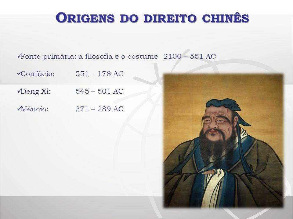 O RIGENS DO DIREITO CHINÊS Fonte primária: a filosofia e o costume2100 – 551 AC Confúcio:551 – 178 AC Deng Xi:545 – 501 AC Mêncio: 371 – 289 AC