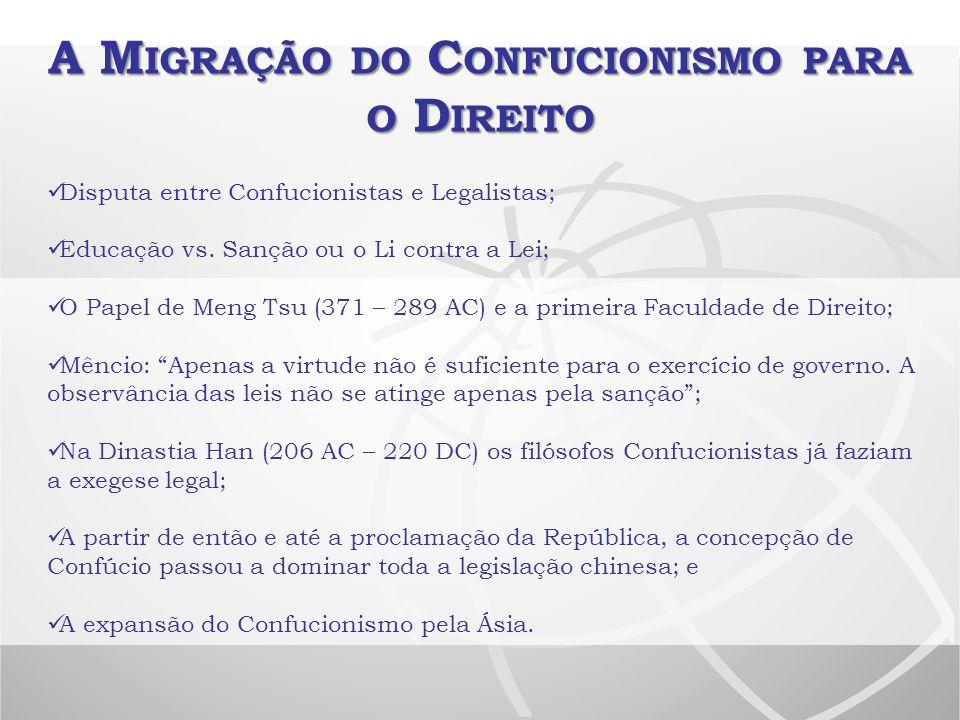 A M IGRAÇÃO DO C ONFUCIONISMO PARA O D IREITO Disputa entre Confucionistas e Legalistas; Educação vs. Sanção ou o Li contra a Lei; O Papel de Meng Tsu