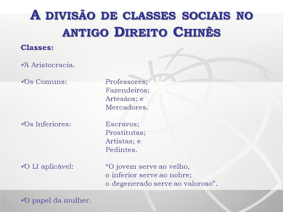 A DIVISÃO DE CLASSES SOCIAIS NO ANTIGO D IREITO C HINÊS Classes: A Aristocracia. Os Comuns:Professores; Fazendeiros; Artesãos; e Mercadores. Os Inferi