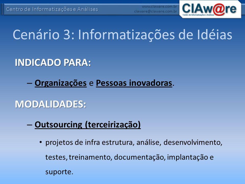 Centro de Informatizações e Análises www.ciaware.com.br ciaware@ciaware.com.br Cenário 3: Informatizações de Idéias INDICADO PARA: – Organizações e Pe