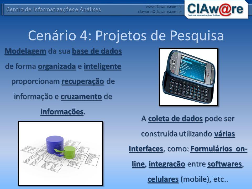 Centro de Informatizações e Análises www.ciaware.com.br ciaware@ciaware.com.br Cenário 4: Projetos de Pesquisa Modelagem da sua base de dados de forma