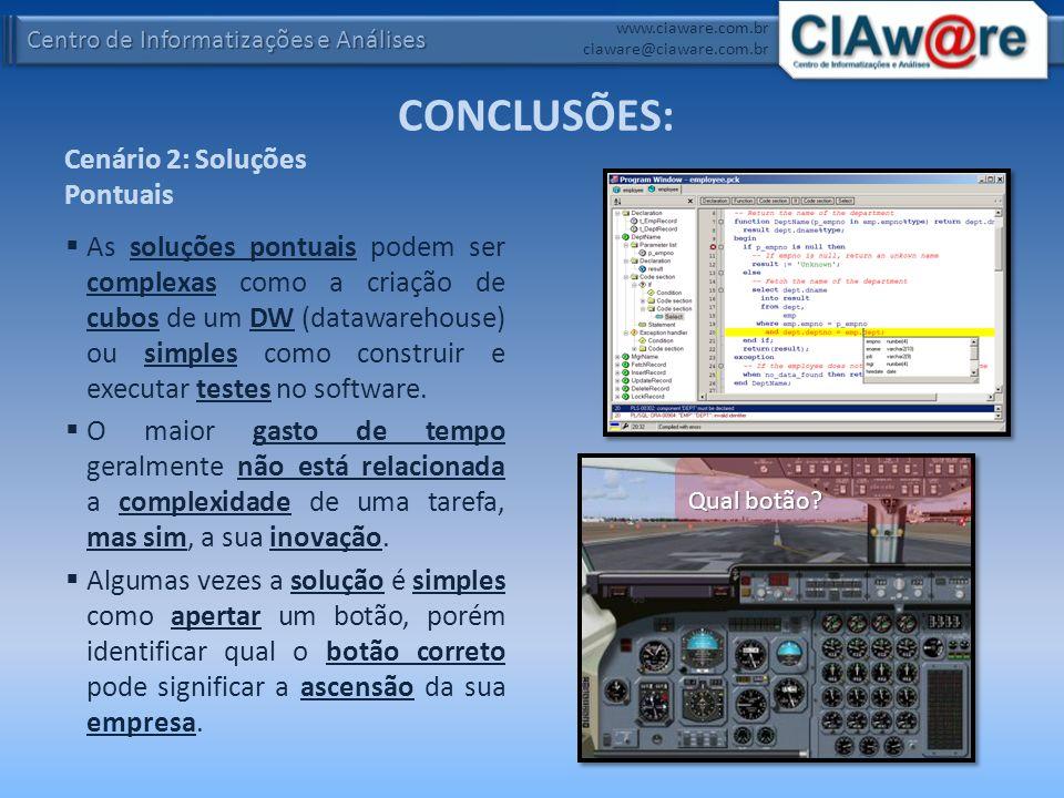 Centro de Informatizações e Análises www.ciaware.com.br ciaware@ciaware.com.br Cenário 2: Soluções Pontuais As soluções pontuais podem ser complexas c