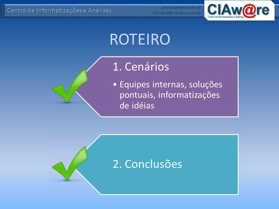 Centro de Informatizações e Análises www.ciaware.com.br ciaware@ciaware.com.br Cenário 3: Informatizações de Idéias INDICADO PARA: – Organizações e Pessoas inovadoras.MODALIDADES: – Outsourcing (terceirização) projetos de infra estrutura, análise, desenvolvimento, testes, treinamento, documentação, implantação e suporte.